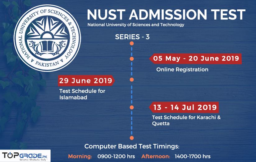 NUST Entry Test Date, 2019, All the Key Dates about NET