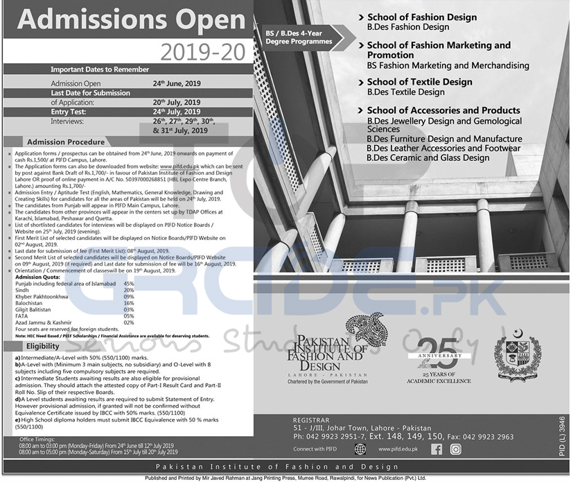 Pakistan Institute Of Fashion And Design Admissions Open 2019