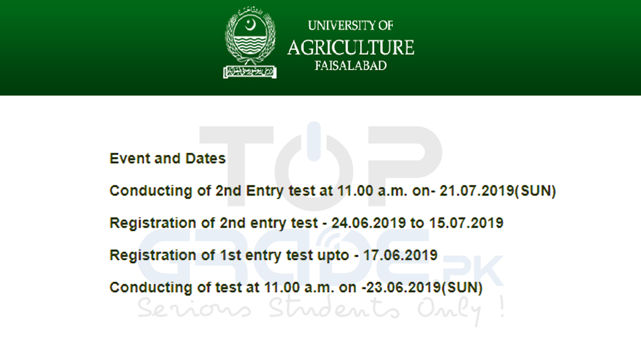 University of Agriculture Faisalabad Undergraduate 2nd Entry