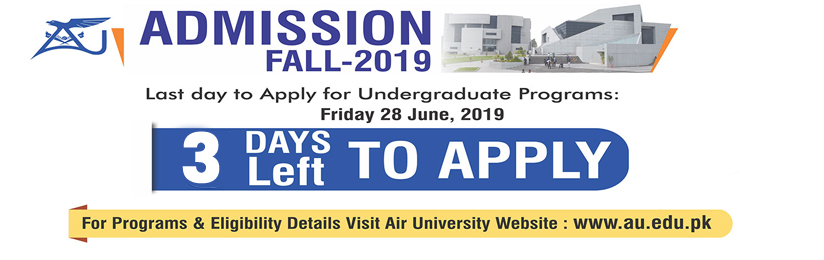 Only 3 days left to apply for Undergraduate Admission in Air