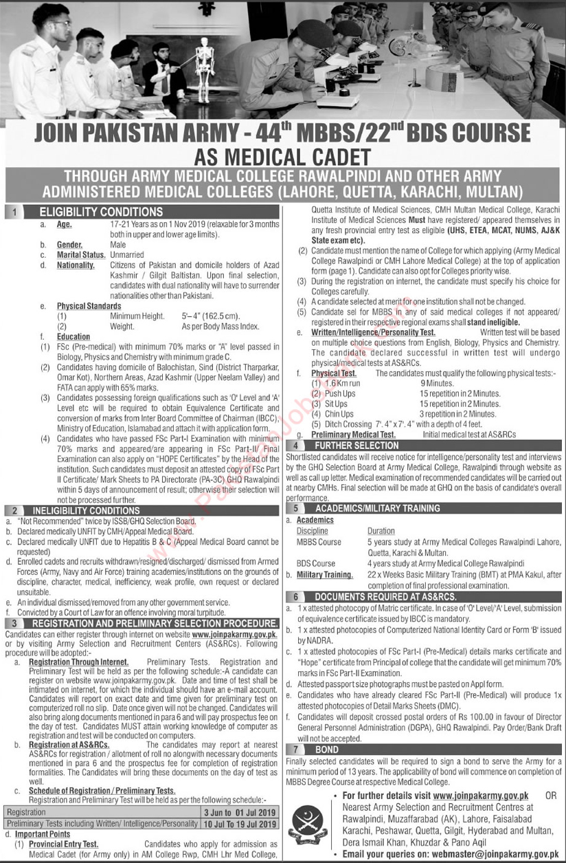 A Great opportunity for Intermediate students to Join Pak Army as Medical Cadet