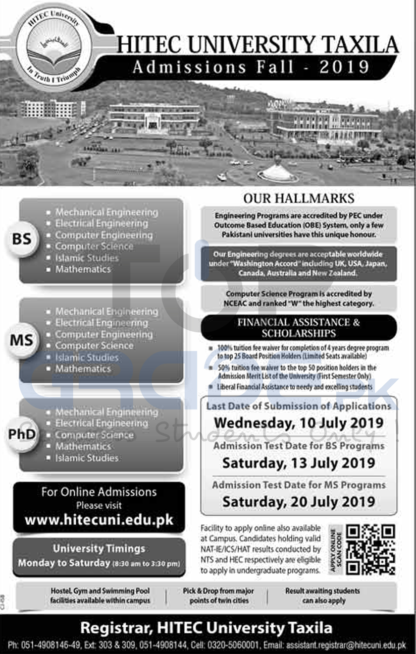 HITEC UNIVERSITY ADMISSIONS OPEN FALL 2019