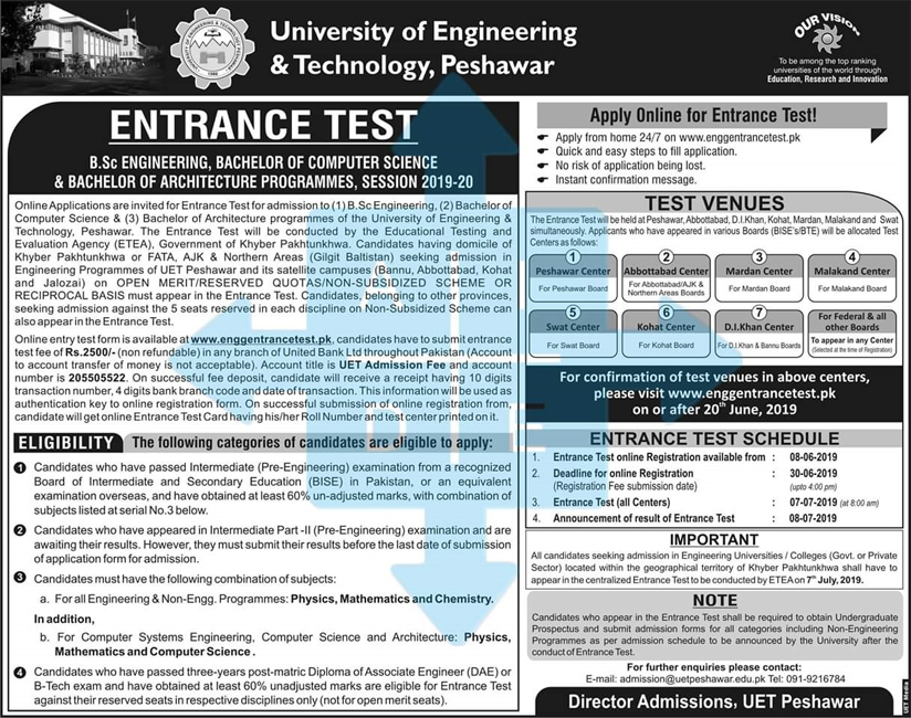 The Registration for UET Peshawar Entrance Test and the date of test has been announced
