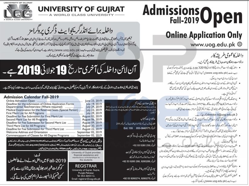 University Of Gujrat Admissions 2019