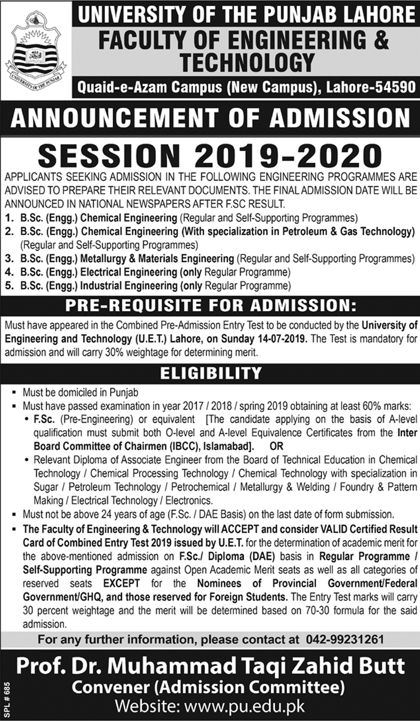 University of the Punjab, Session 2019-2020