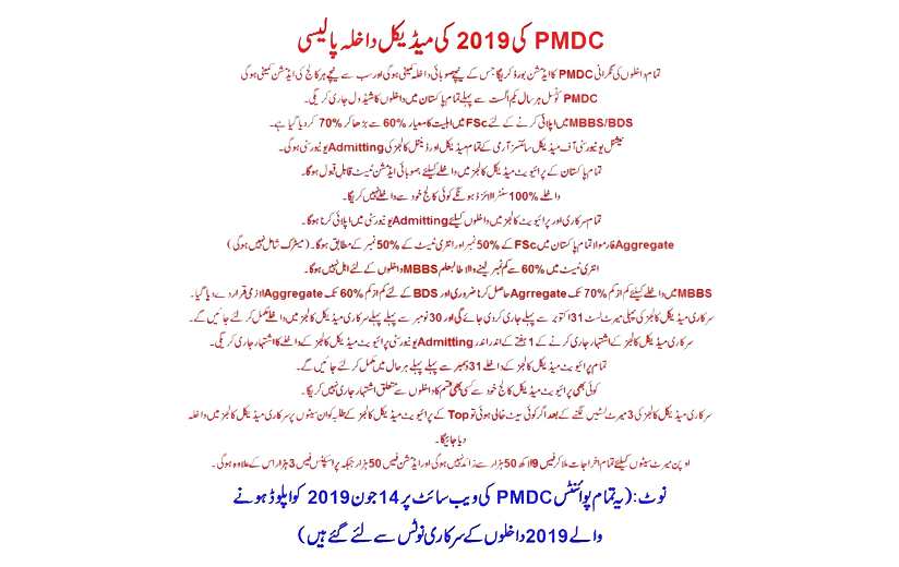 Medical Admission Policy of Pakistan Medical and Dental