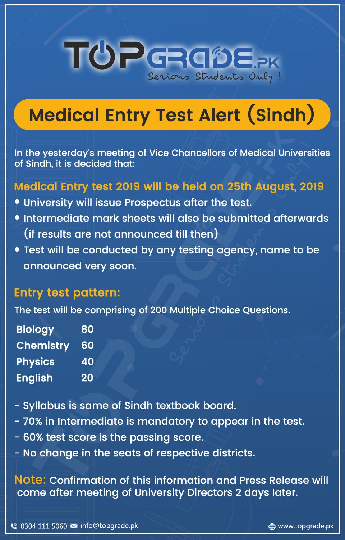 Sindh Medical College Admission Test (MCAT) 2019
