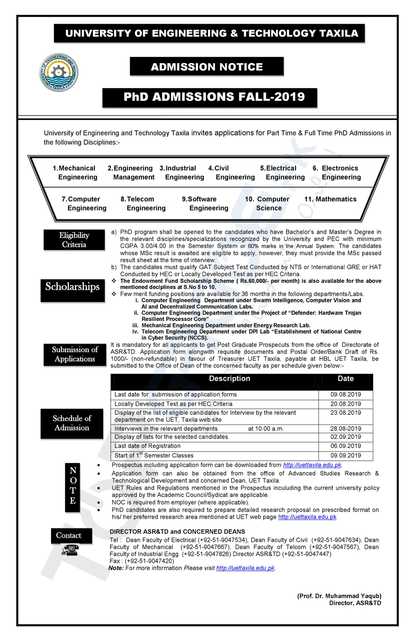 University of Engineering and Technology Taxila PhD Admissions 2019