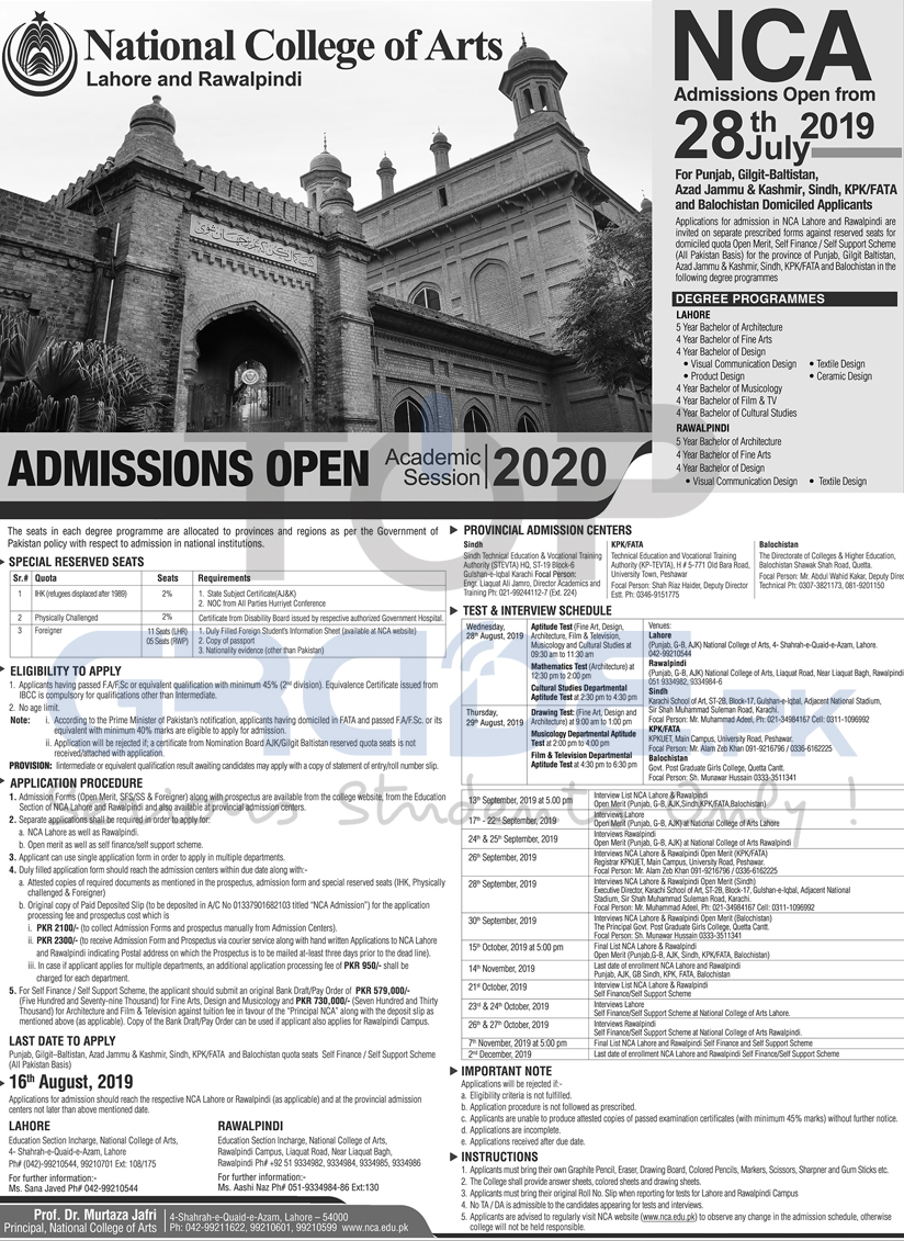 National College of Arts Admissions Open 2019